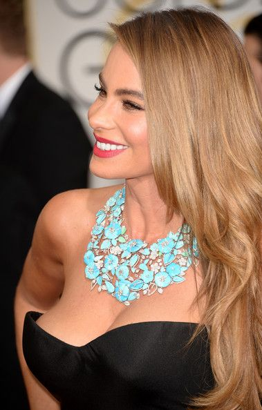 Love the hair, makeup and statement necklace! Sophia Vergara.