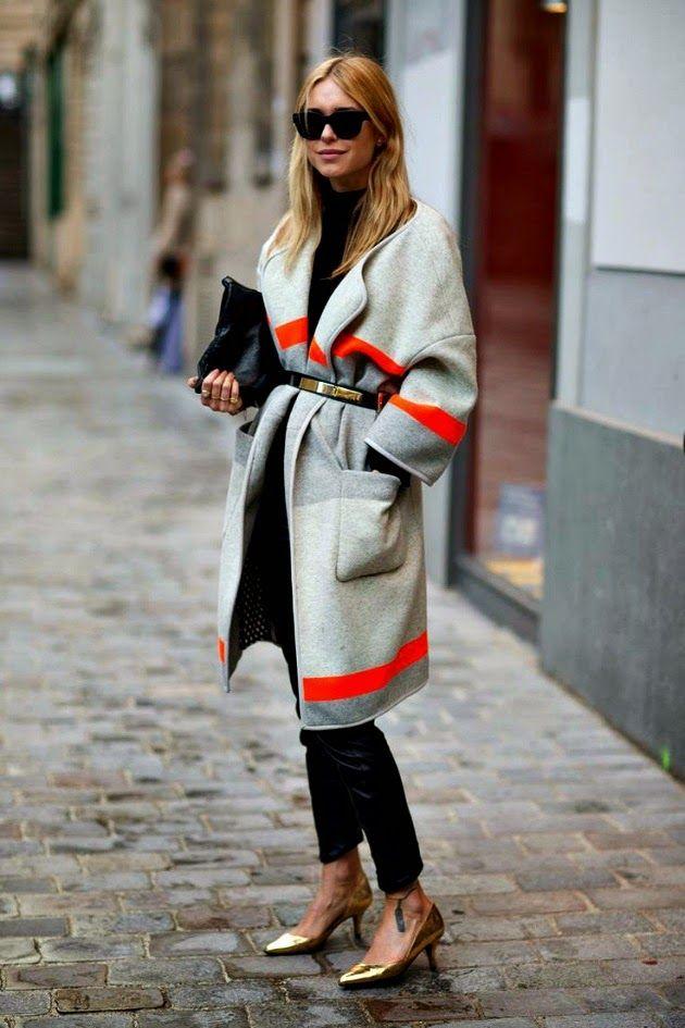 topshop blanket coat | Pernille in her grey/orange blanket coat - get similar here