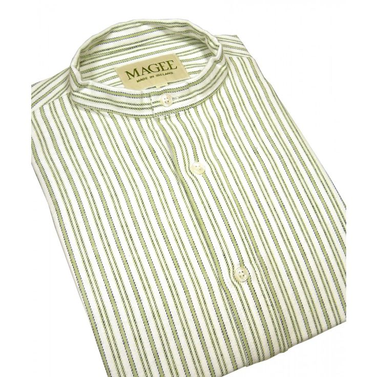 Green Stripe Cotton Grandad Shirt From Magee   Woods of Shropshire
