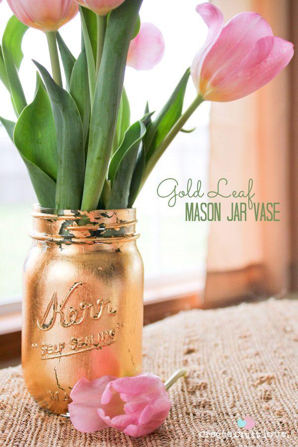 discount balenciaga Gold Leaf Mason Jar Vase