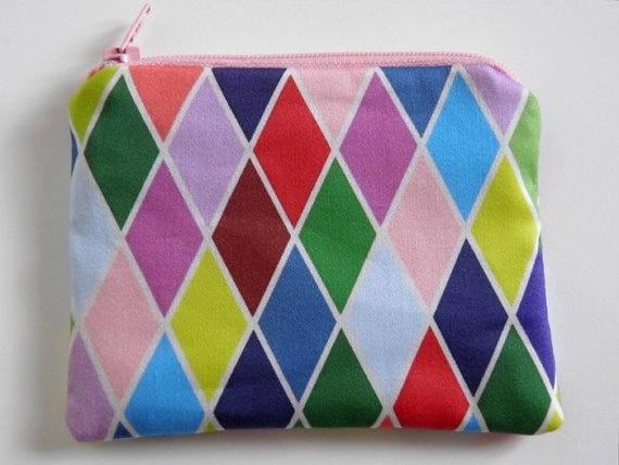items similar to off sale harlequin coinpurse rainbow made of organic cotton on etsy