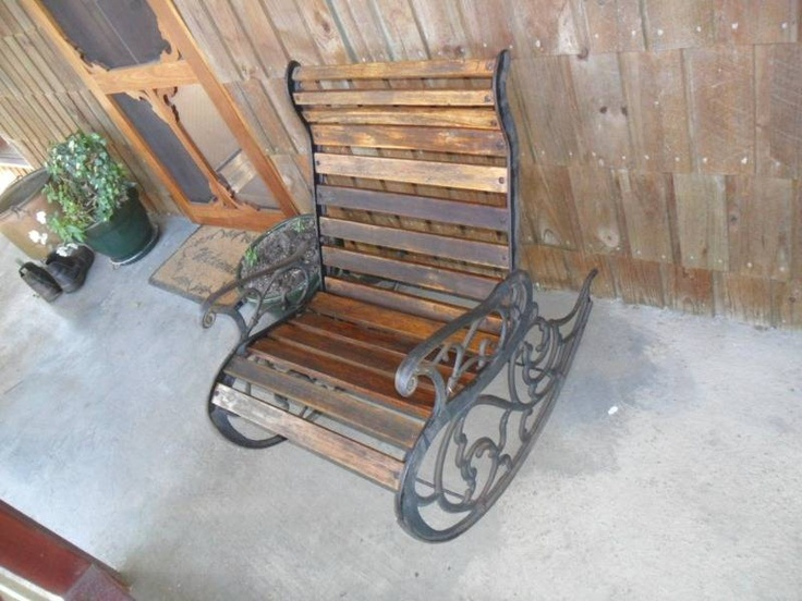Cast iron outdoor rocking chair home sweet home for Outdoor furniture launceston