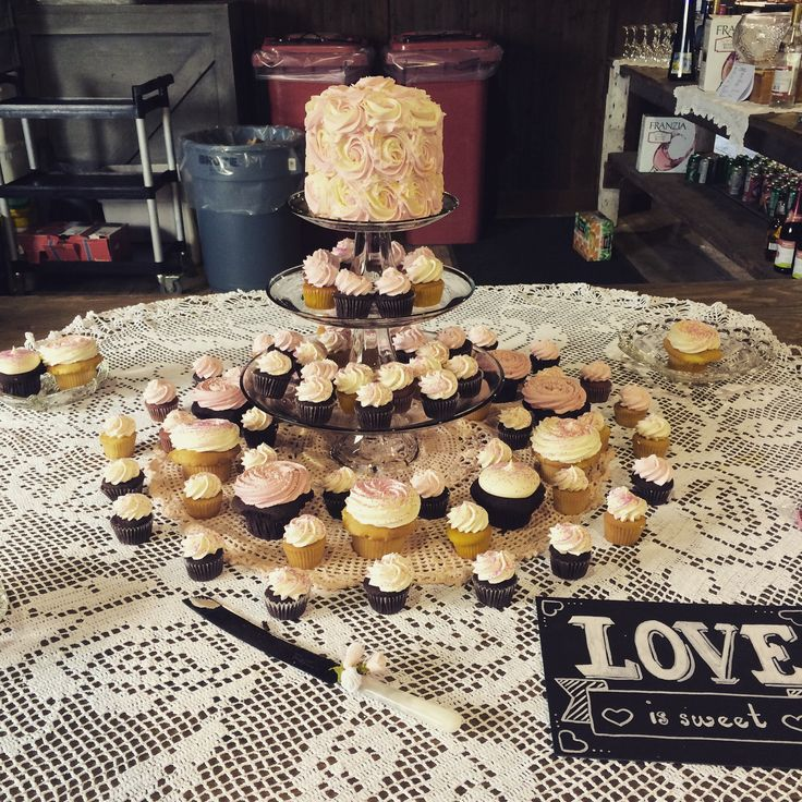 Cake and cupcakes from Cupcakes in Surrey, BC. Real wedding in Vancouver, BC. #createweddingsandevents #vancouver weddings