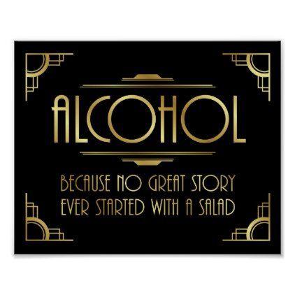 Art Deco Print GATSBY ALCOHOL Quote Sign - wedding decor marriage design diy cyo party idea