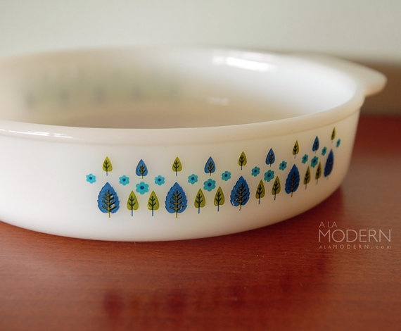 Fire King Swiss Chalet Cake Pan Glass Vintage by alamodern on Etsy, $18.00
