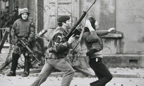 A British soldier arrests a demonstrator in Derry on Bloody Sunday 1972