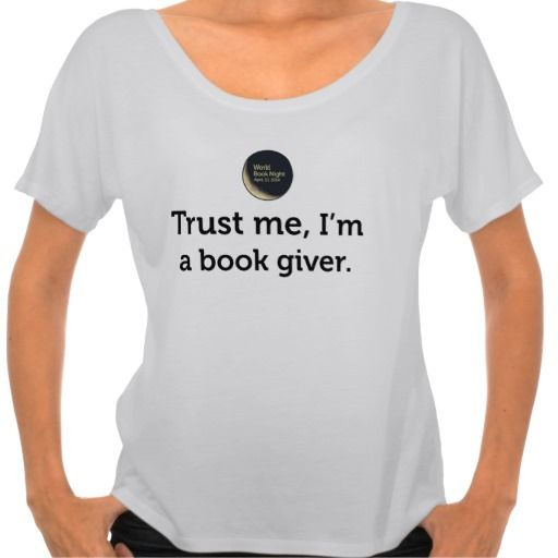 """Trust me, I'm a book giver"" T-shirt with logo"