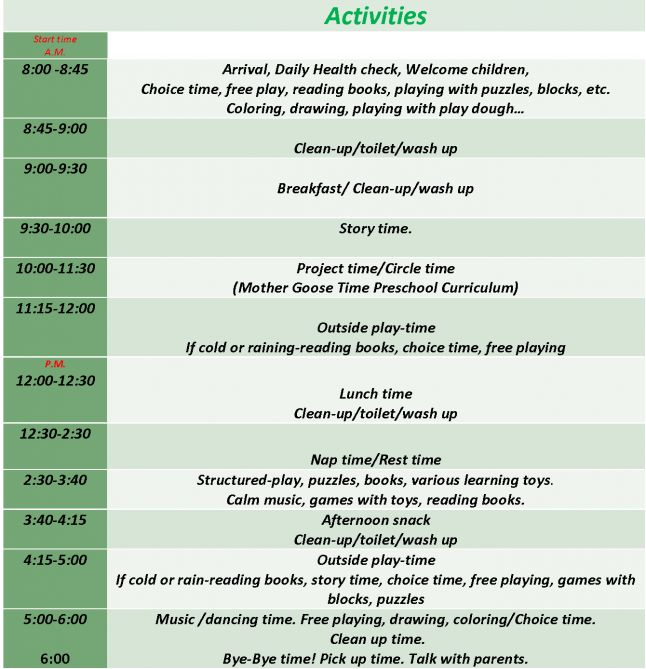 really like this one  preschool schedule for 2