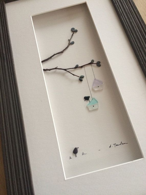 8 by 15 seaglass and pebble art bird houses by by PebbleArt: