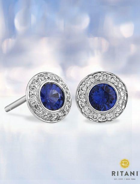 Blue Sapphire and Diamond Halo Stud Earrings