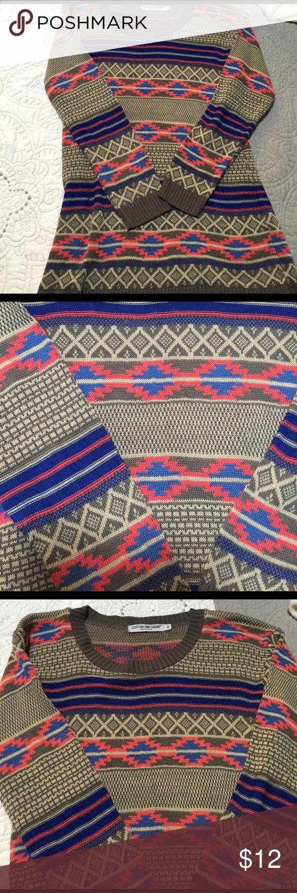 Cotton Emporium sweater Size small. Tribal print sweater. Worn once cotton emporium Sweaters