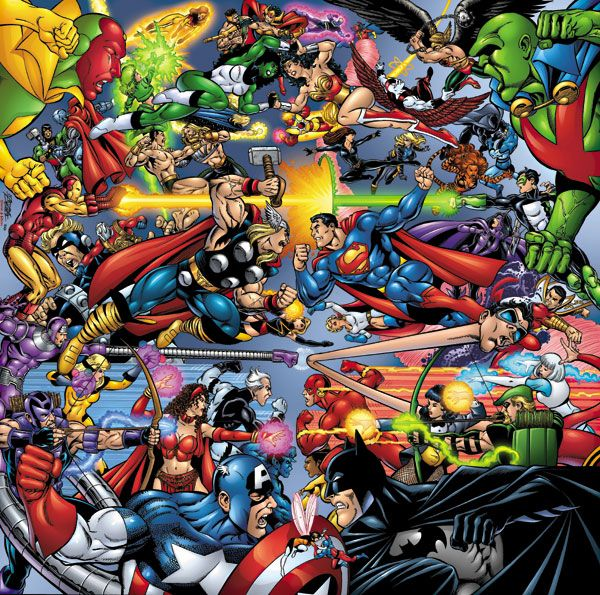 The Greatest Comic Book Battles #7: DC vs Marvel - It's happened once where a voting system weighed the outcome who should win. Let's do it again with the most updated roster of heroes and maybe lets pit the villains with Doomsday vs the Hulk or the Juggernaut. And we can stick with George Perez's art as in this Avengers vs Justice League. Of course other comic book artist legends are welcome.