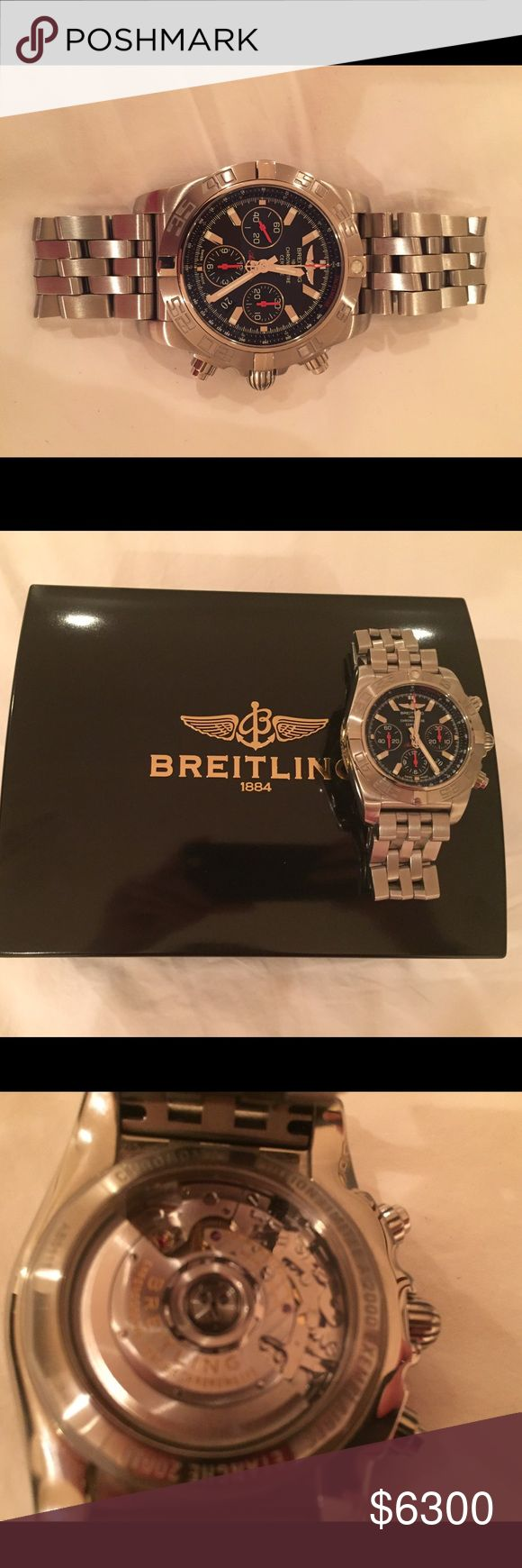 🔱large silver breitling watch🔱 large silver breitling 1884 chronometre limited edition watch (#1619/#2000).. in excellent condition, worn only a few times and comes with box, travel box, manual, and receipt.. Breitling Accessories Watches
