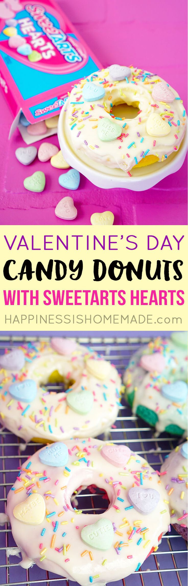 Valentine's Day Donuts with @SweeTARTS - the perfect gift for your sweetheart! #ValentinesDay #ad
