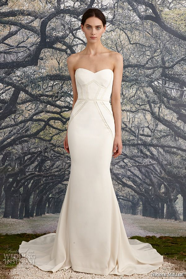 nicole miller spring 2016 bridal strapless sweetheart neckline stretch crepe de chine sheath wedding dress blythe