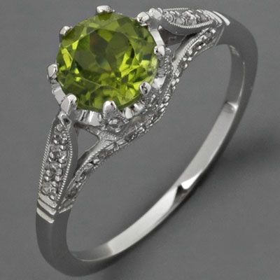 Antique Peridot Engagement Ring Diamonds Edwardian Style