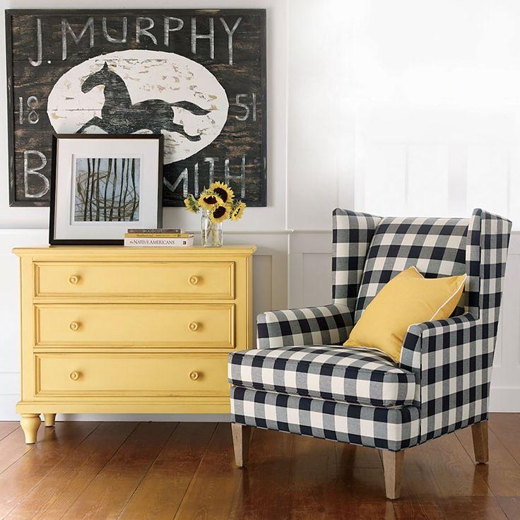 Black White Yellow Living Room Black And White Buffalo Plaid Chair Buffalo Check Fabric Farm House Living Room Home Home Decor