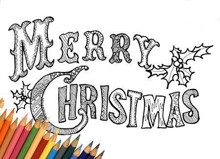 Merry Christmas buon natale pagina da colorare stampabile biglietto di auguri natalizio da stampare scritta da colorare last minute inverno