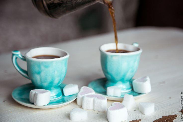 Купить Завтрак у Тиффани... Кофейная пара, керамика ручной работы - бирюзовый, чашечка, чашка с блюдцем