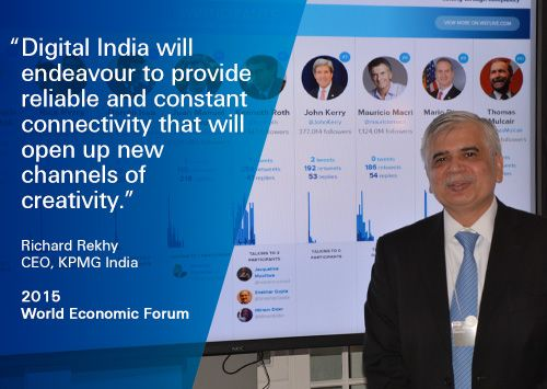 """KPMG @ WEF 2015: """"#Digital India will endeavour to provide reliable and constant connectivity."""" Richard Rekhy, KPMG #WEF15 #FutureWeb"""