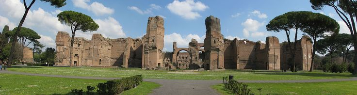 Pohled na zříceniny Caracallových lázní