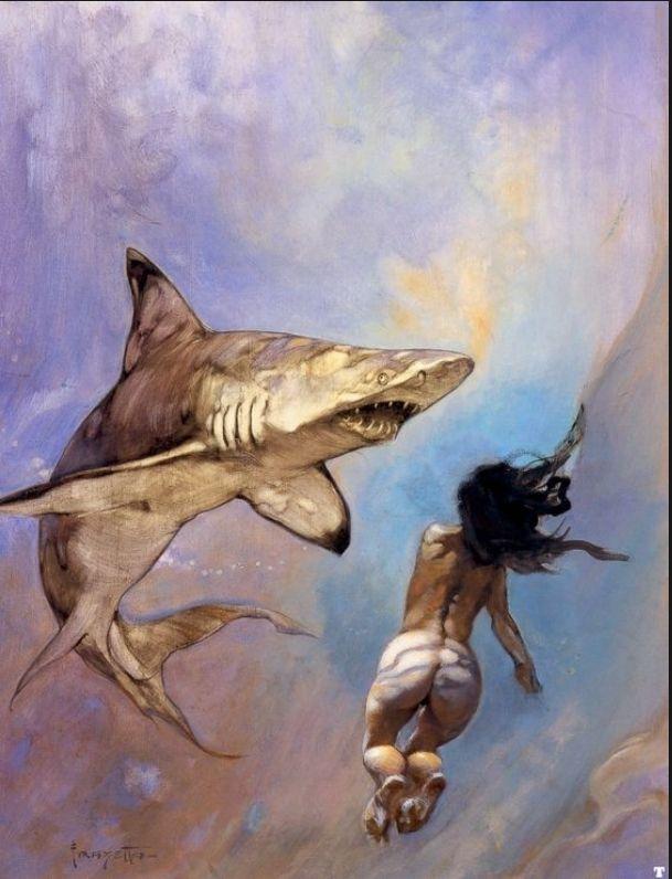 FRANK FRAZETTA - Requiem for Sharks