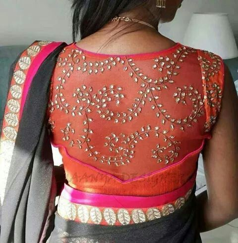 Embroidered net back blouse