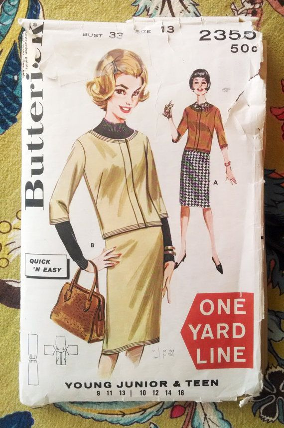 Butterick 2355 Junior, Teen Jacket and Skirt Pattern Size 13 - Vintage 1962 $5.00