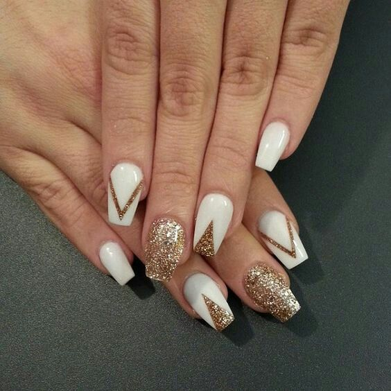 42 best nail art ideas images on pinterest nail art ideas 1457280767 3 white and gold nail designs prinsesfo Images