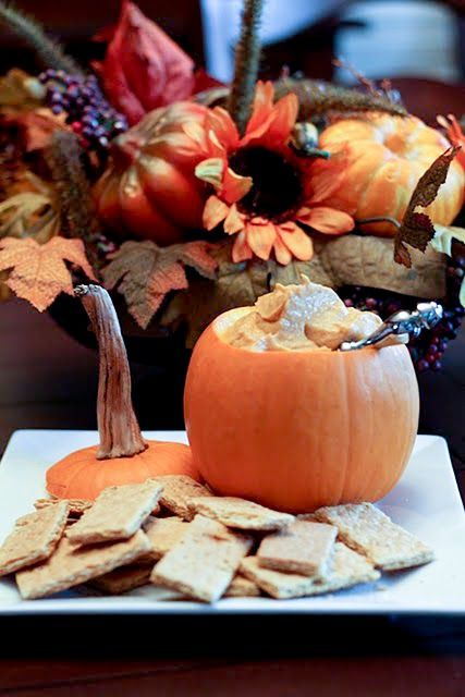 #fall party food  1 (8-ounce) package cream cheese, softened  1 (15-ounce) can pumpkin pie filling  1 teaspoon ground cinnamon  1/2 teaspoon ground ginger  sugar is called for, but I'm going to see how little I can get away with.  Garnishes: ground cinnamon, cinnamon sticks