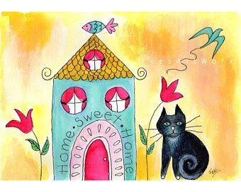 Inwijdingsfeest Gift, schwarzer Katzendruck, Katzenkunst, Katzenkunst an de … – Cat illustrations and art