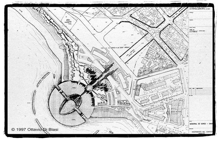 Plan de masse du Mémorial de Gorée à Dakar par Ottavio Di Blasi en 1997 - www.memorialdegore.org