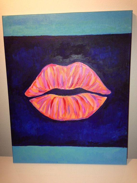 Lips painting - acrylic on canvas.  Etsy, $60.00