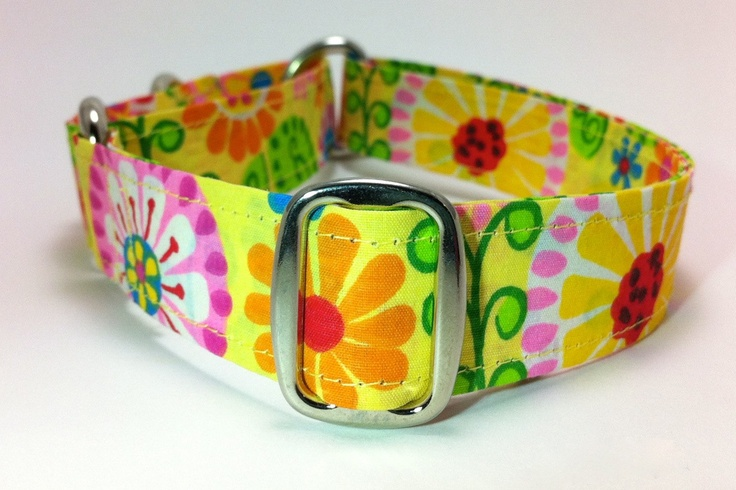 Yellow Floral Wide Martingale Dog Collar -- Custom Size. $20.00, via Etsy.