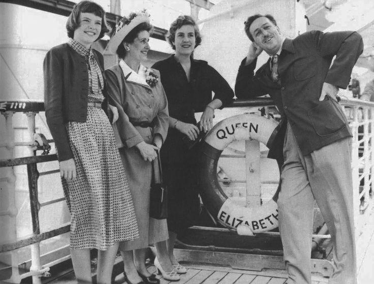 Diane Disney; Lillian Disney; Diane Disney and Walt Disney: Aboard the Queen Elizabeth - About 1950's