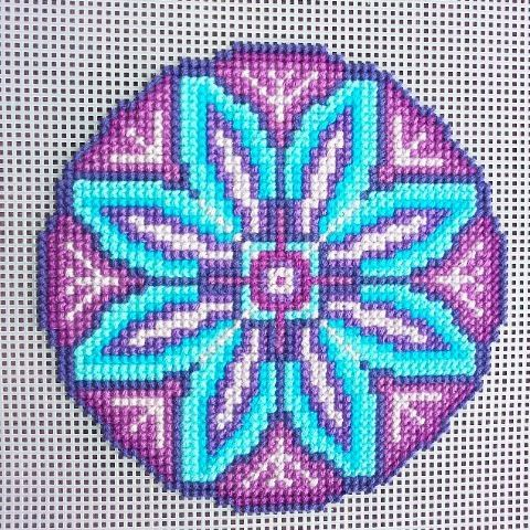 A mandala pattern of Droomcreaties used for embroidery on plastic canvas with  crochet yarn. Love how this turns out! #mandala…