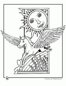 art deco pegasus coloring page - Art Nouveau Unicorn Coloring Pages