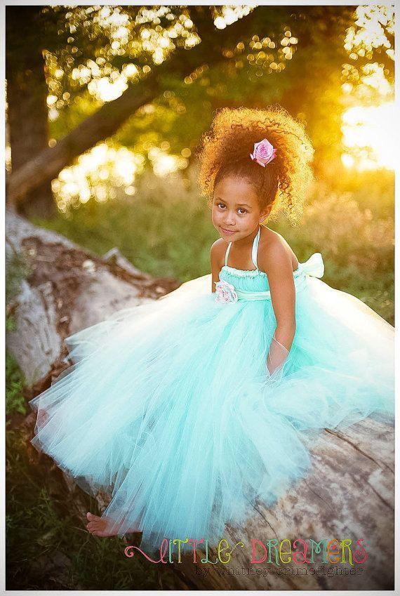 Mint Flower Girl Tutu Dress with Flower Sash by littledreamersinc, $80.00