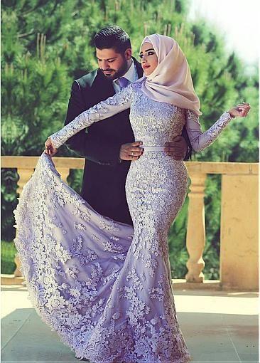 Elegant Tulle Natural Waistline Mermaid Arabic Islamic Wedding Dresses with Beaded Lace Appliques