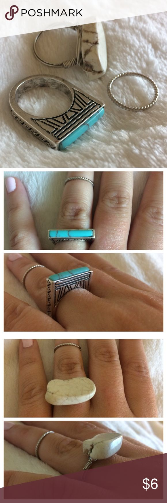 Set of 3 boho festival rings Set of 3 silver boho festival rings. 1.) silver wrapped wire with white stone, 2.) etched silver with rectangle turquoise stone, and 3.) silver rope midi ring. Approx size 7. EUC. Urban Outfitters Jewelry Rings