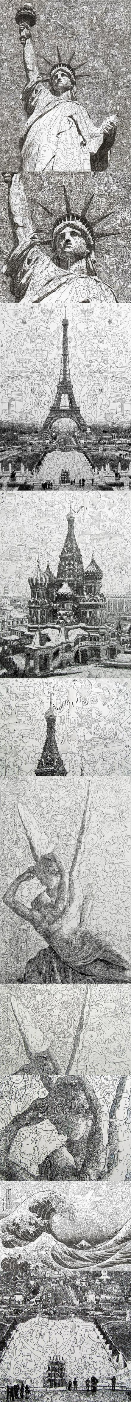 pen and ink illustrations by Sagaki Keita  -  thousands of whimsical characters that are drawn almost completely by hand
