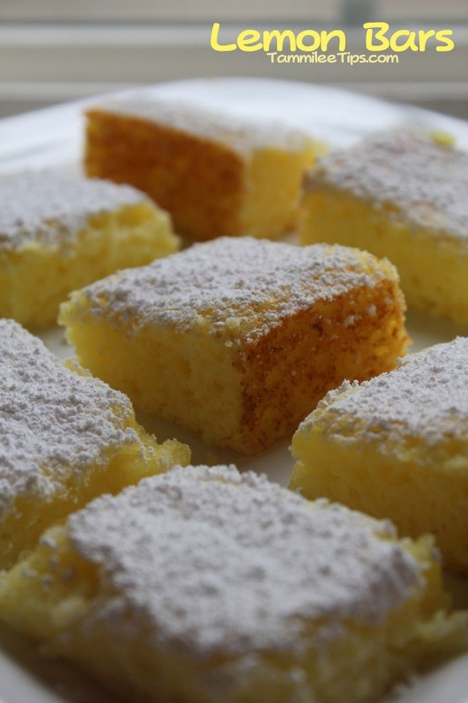 2 Ingredient Lemon Bars Recipe -  1 box of angel food cake 1 can of lemon pie filling  1. Combine angel food cake and lemon pie filling, carefully mix together, the angel food cake mix is super light and will fly everywhere 2. Pour into a 9×13 pan 3. Bake for 20 minutes at 350 degrees Top with powdered sugar as they are cooling