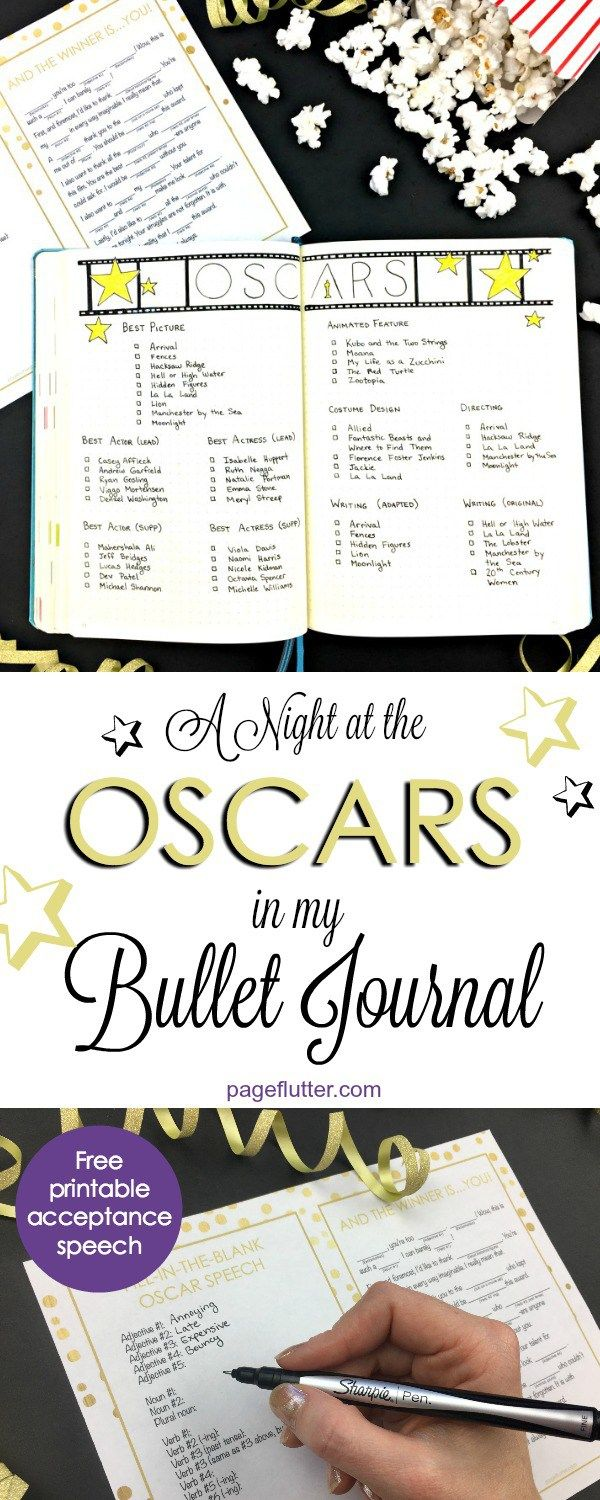 150 best page flutter hot off the press images on pinterest a night at the oscars in my bullet journal plus free printable acceptance speech fandeluxe Gallery