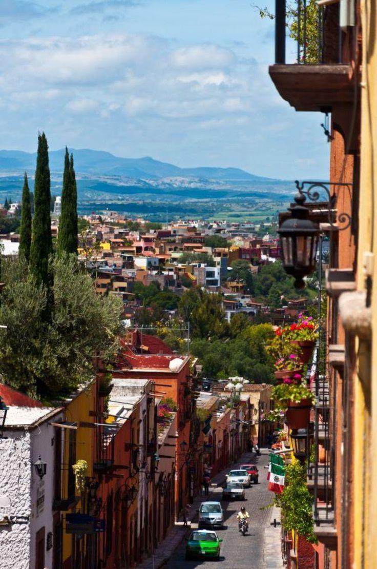 Looking down the street in San Miguel de Allende, Mexico