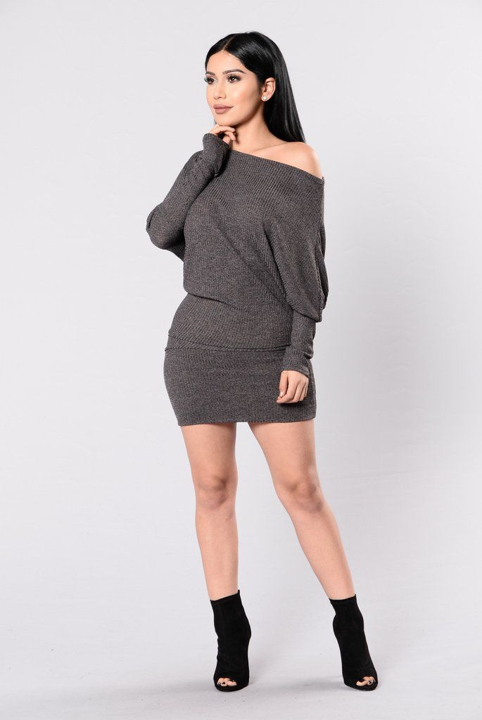 - Available in Charcoal & Dusty Rose - Mini Dress - Strapless - 3/4 Sleeve - Ribbed - 95% Polyester, 5% Spandex