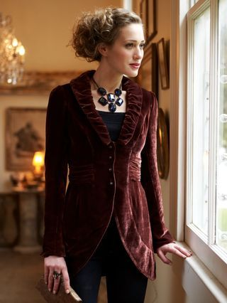 This woman's jacket was inspired by a man's waistcoat from the regency and romantic era.