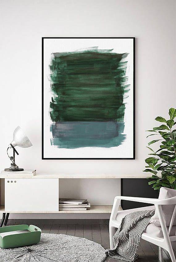 Abstrakte grüne und aquamarine Malerei   Waldgrüne Malerei   Grüner Druck   Knickenten-Kunst   Blau-grüne Kunst   Zeitgenössisch   Große Wandkunst   Minimal