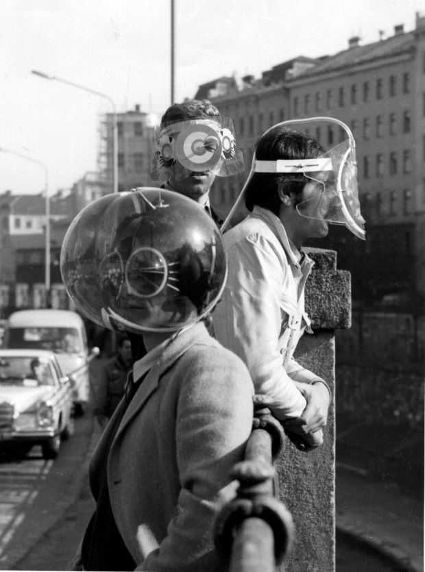 Helmets to isolate the wearer from the outside world, c. 1967-1968