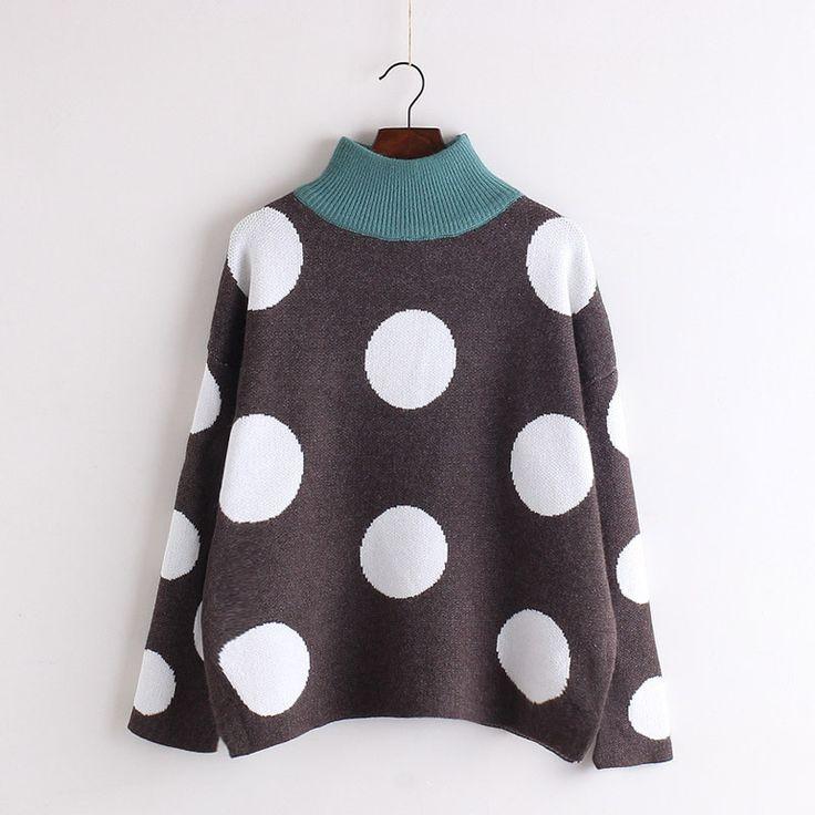 Polka Dot Scoop Korean Pullover Knit Loose Sweater