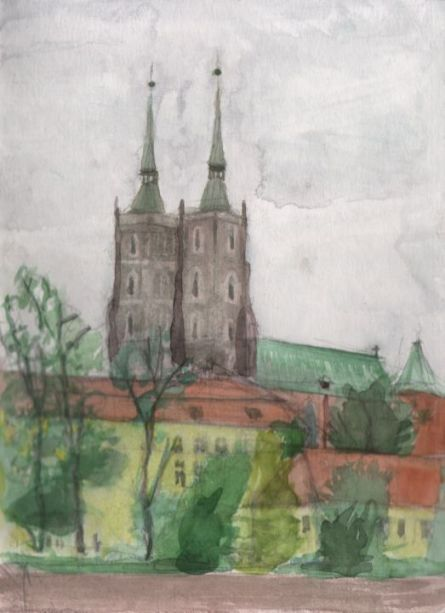 Cathedral in Wroclav, 18x25 cm, 2014